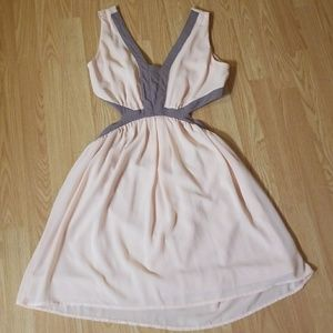 Pink and gray cut out short dress